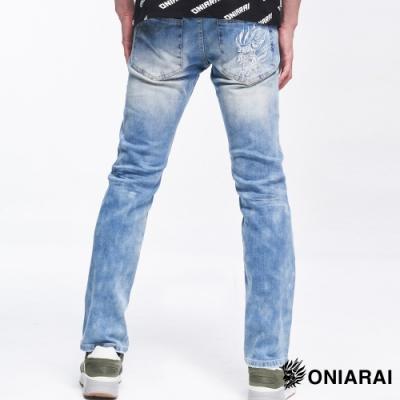 鬼洗 BLUE WAY -紅布邊鬼頭拼字彈性低腰直筒褲