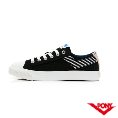 【PONY】Shooter條紋LOGO設計帆布鞋 女鞋 黑色