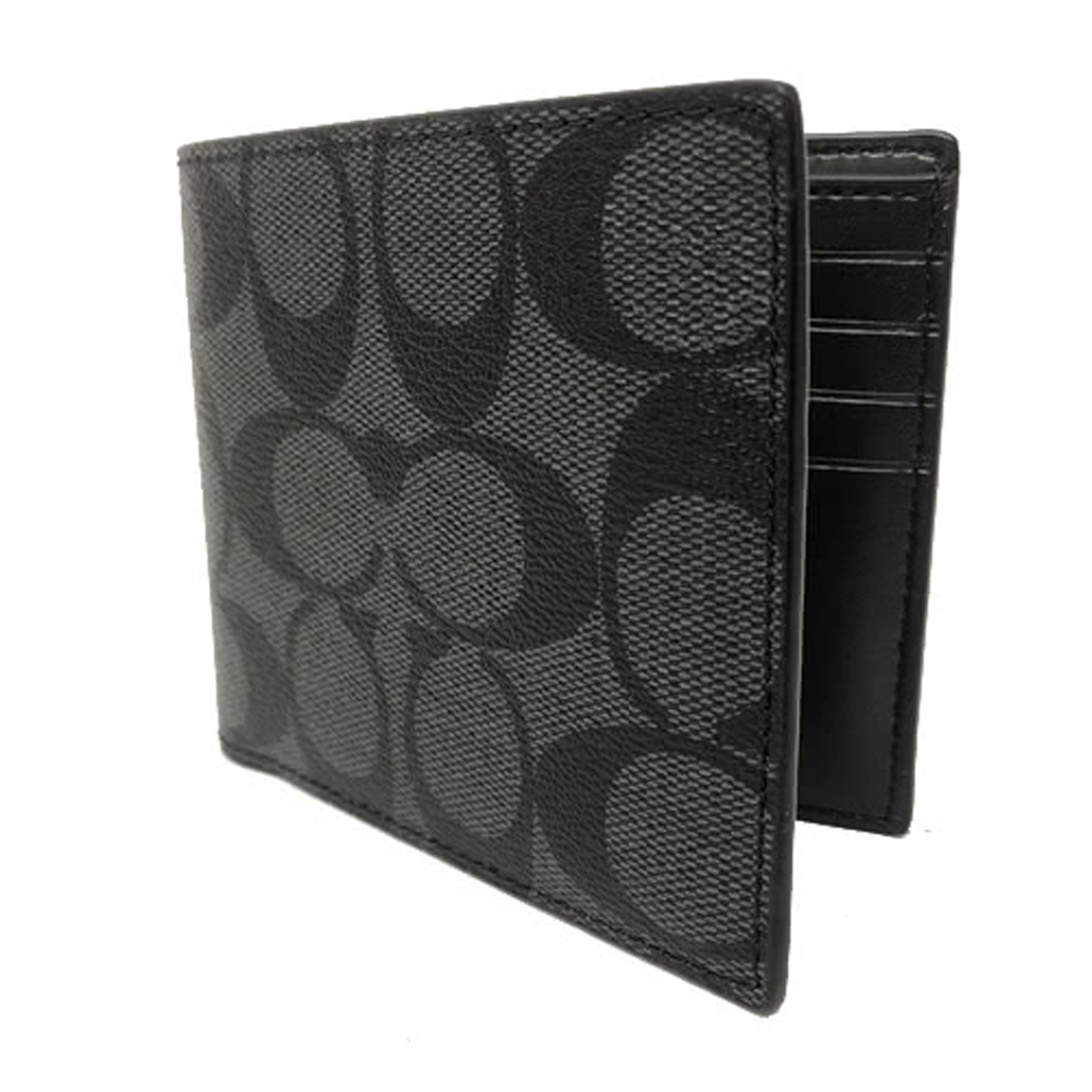 COACH 經典C LOGO PVC防刮皮革 8卡對折輕便短夾(黑灰)