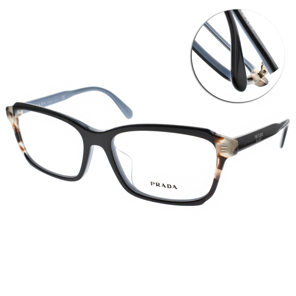 PRADA光學眼鏡 簡約時尚方框/黑-琥珀#VPR01VF KHR1O1