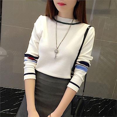 DABI 韓國風拼色毛衣針織衫長袖上衣