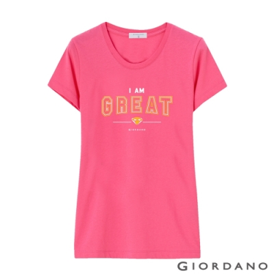 GIORDANO 女裝棉質圓領標語印花T恤- 03 迷蒙櫻桃紅