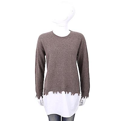 1436 x UMA WANG 100%羊絨 破邊拼接設計棕色針織羊毛衫