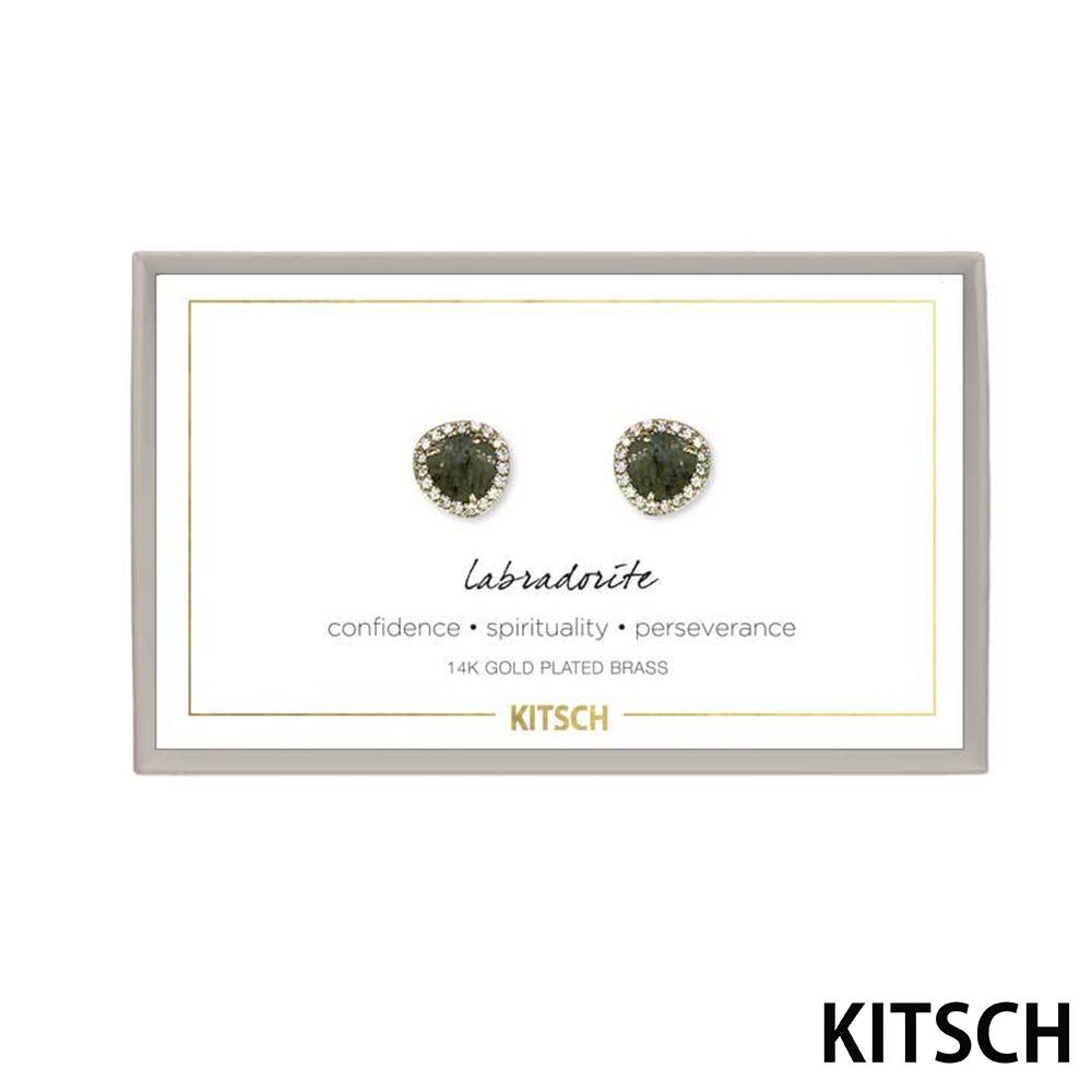 KITSCH 美國加州時尚品牌 翠綠光譜石14k鍍金寶石耳環