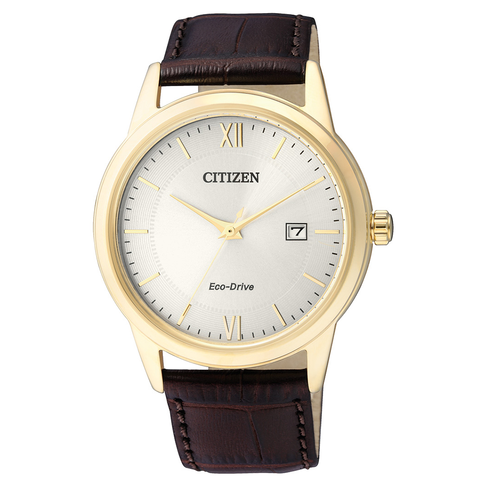 CITIZEN  英倫爵士風光動能石英腕錶(AW1232-12A)-銀/40mm