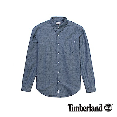 Timberland 男款丹寧印花Suncook River長袖襯衫