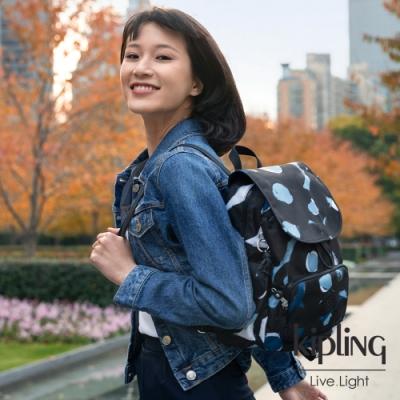 Kipling 童趣塗鴉印花拉鍊掀蓋後背包-CITY PACK S