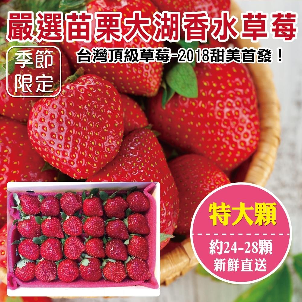 【天天果園】嚴選苗栗大湖香水草莓(24-28顆/共約400g) x3盒