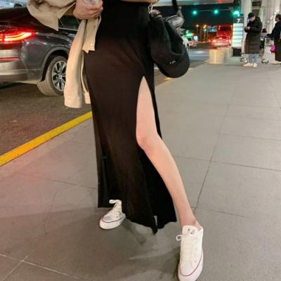 La Belleza素色鬆緊腰棉質側開叉垂墬感造型長裙