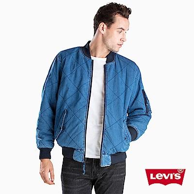 Levis 男裝 棒球外套 藍白雙面穿 刷毛