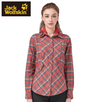 【Jack Wolfskin 飛狼】女 連帽保暖襯衫 (帽可拆) 『橘紅』