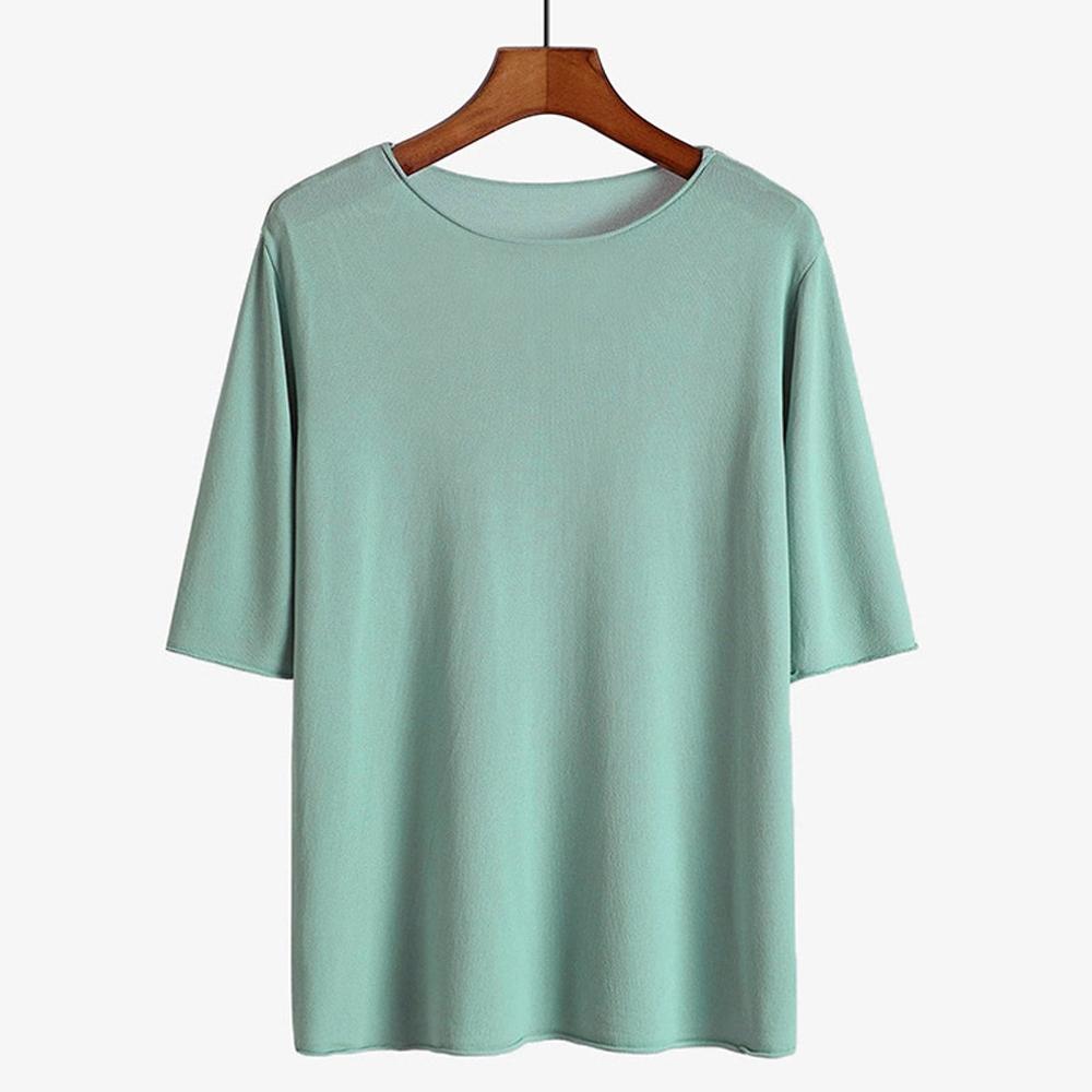 ALLK 歐楷 超彈力冰絲針織上衣 共10色(尺寸F 任選) (水藍色)