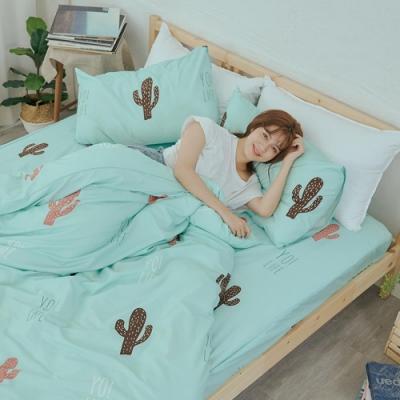 BUHO 乾爽專利機能雙人加大四件式舖棉兩用被床包組(多肉寓所)