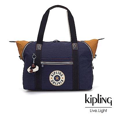 Kipling 致敬經典復古深藍手提側背包-ART M