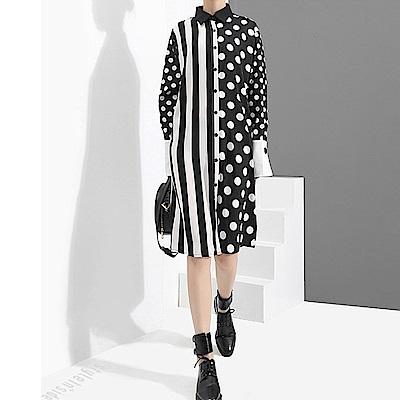波點條紋拼接襯衫式連身裙-(共二色)Andstyle