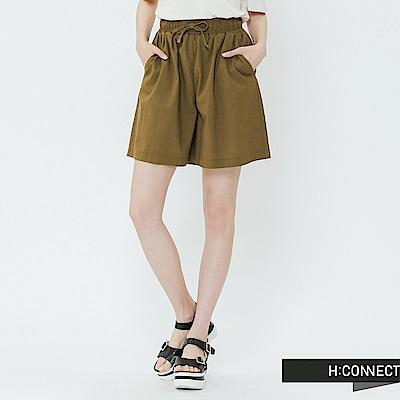H:CONNECT 韓國品牌 女裝-棉麻鬆緊休閒短褲-棕