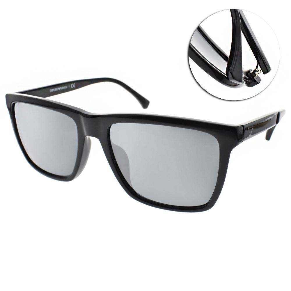EMPORIO ARMANI太陽眼鏡 個性方框/黑-淡水銀-#EA4117F 50176G