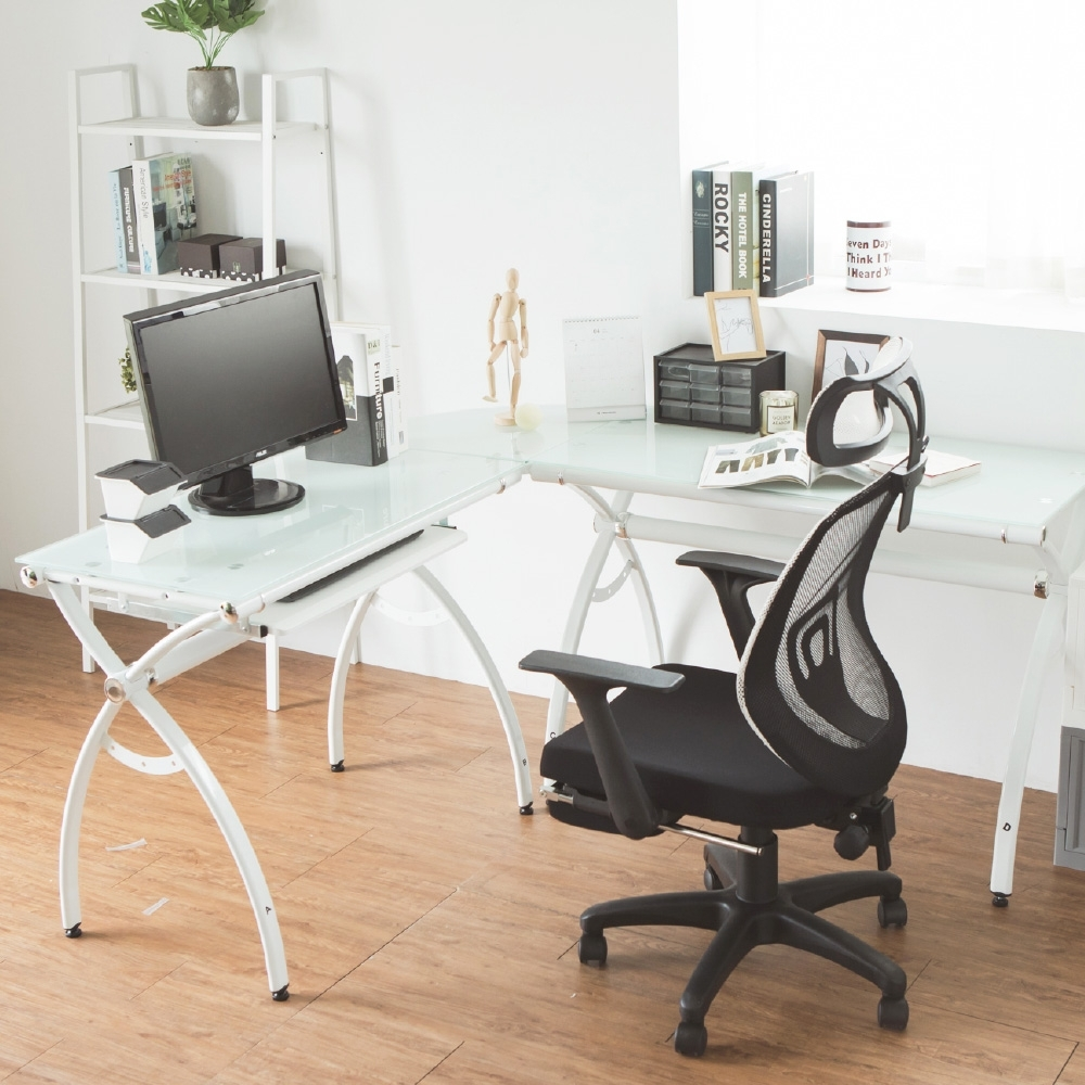 Home Feeling 強化玻璃L型電腦桌/附鍵盤架/工作桌/書桌(2色)