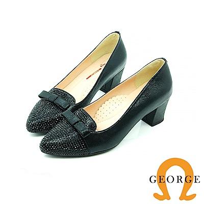 【GEORGE 喬治皮鞋】都會休閒 蝴蝶結水鑽拼接面料真皮粗跟鞋-黑