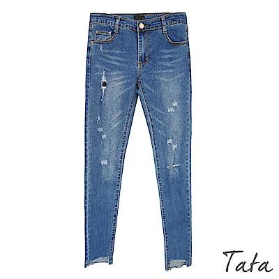 褲腳不規則切割激瘦牛仔褲 TATA