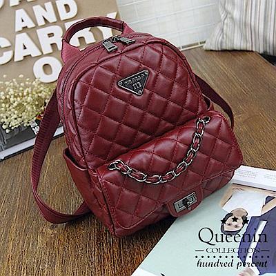 DF Queenin日韓 - 歐美時尚輕奢華菱格壓紋雙肩背包-共2色
