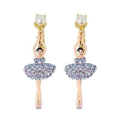 Les Nereides 優雅芭蕾舞女孩系列 珍珠亮鑽芭蕾舞者耳環 耳夾式 極光色