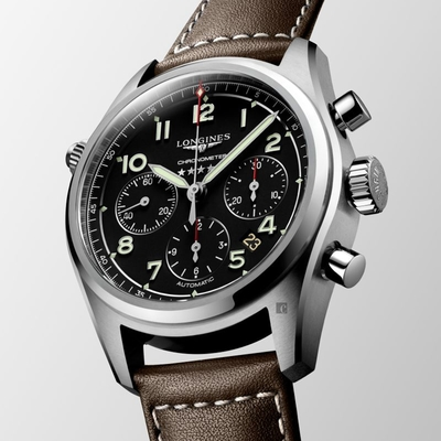 LONGINES浪琴 Spirit 先行者系列飛行員計時機械錶-黑X咖啡/42mm L38204530