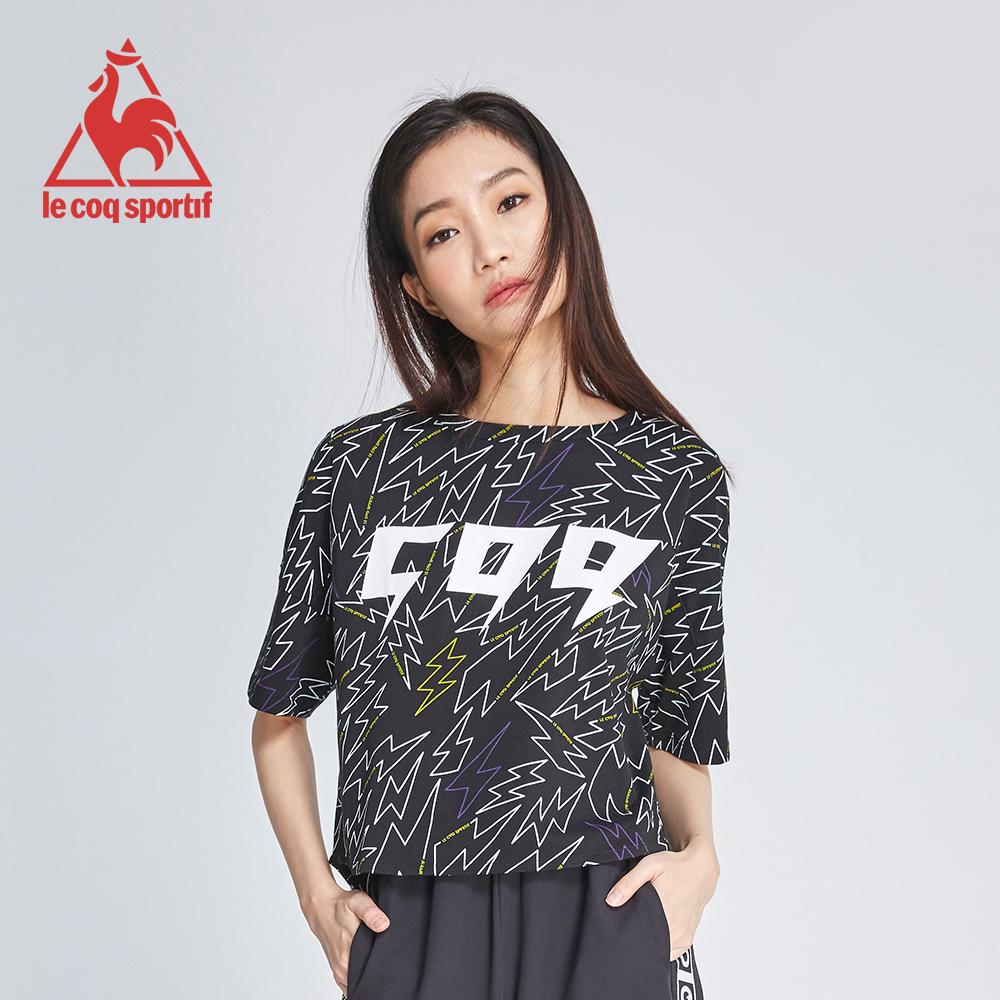 le coq sportif 法國公雞牌COQ系列閃電印花短袖T恤 女-黑