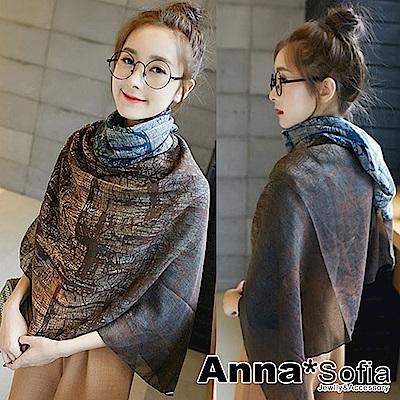 AnnaSofia 謐彩樹影款 拷克邊韓國棉圍巾披肩(藍咖漸層系)