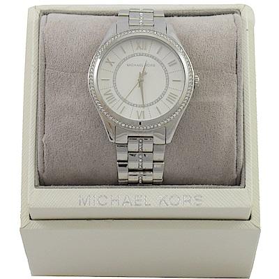 MICHAEL KORS 經典內外圈水鑽不鏽鋼手錶(白)