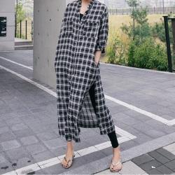【KISSDIAMOND】秋季新款簡約格子寬鬆棉麻襯衫連衣裙洋裝(百搭/簡約/舒適/KDD-9313)