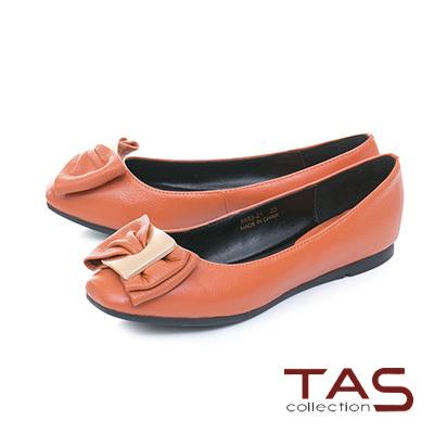 TAS雙層蝴蝶結方頭荔枝紋牛皮娃娃鞋-焦糖卡其