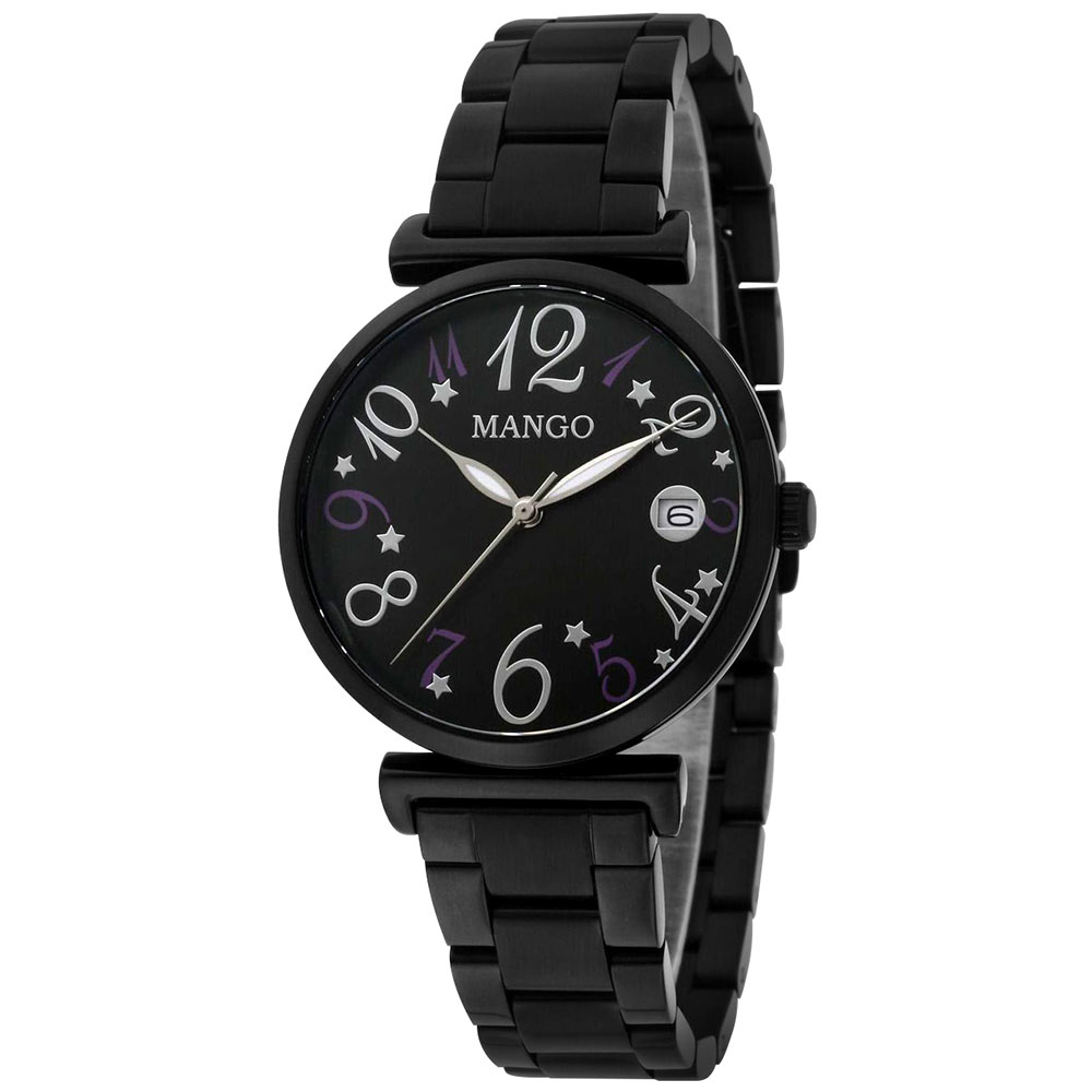 MANGO 城市美少女腕錶-黑色/34mm