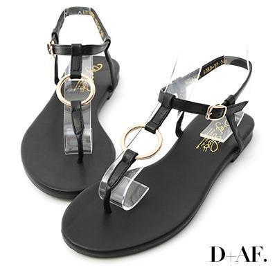 D+AF 人氣聚焦.金色圓環T字夾腳涼鞋*黑