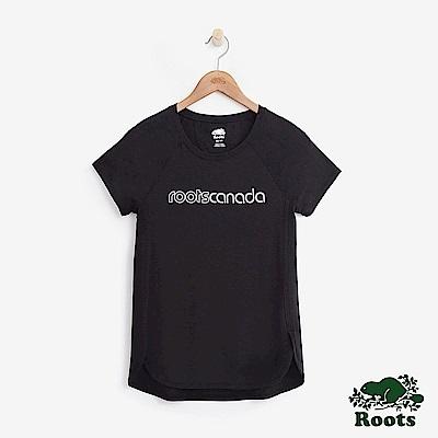 Roots -女裝- 機能面料短袖T恤 - 黑