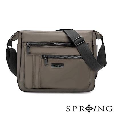 SPRING-微光澤輕量側背包-大-古銅灰