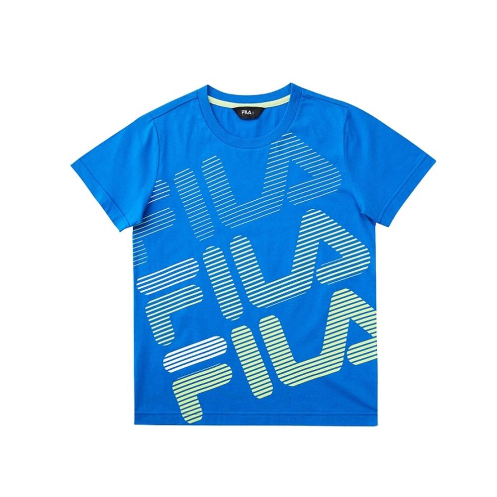 FILA KIDS 童短袖圓領上衣-藍 1TEV-4902-BU