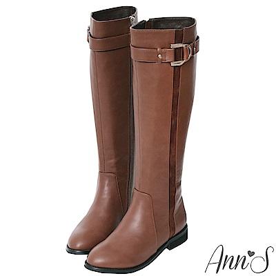 Ann'S馬蹄金扣平底及膝長靴-咖