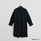 Hang Ten - 女裝 - 側開岔格紋長版襯衫 - 藍