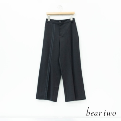 bear two- 不對稱直條車線長褲 - 黑