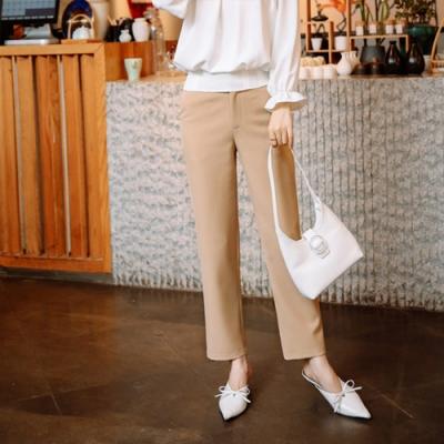 設計所在Lady-休閒直筒西裝長褲時尚高腰(二色M-3XL可選)