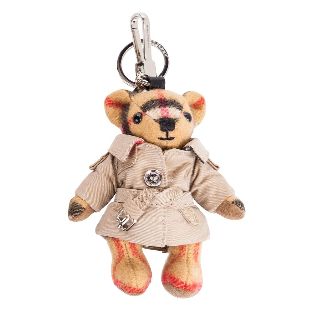 BURBERRY Vintage 格紋風衣喀什米爾 Thomas 泰迪熊墜飾