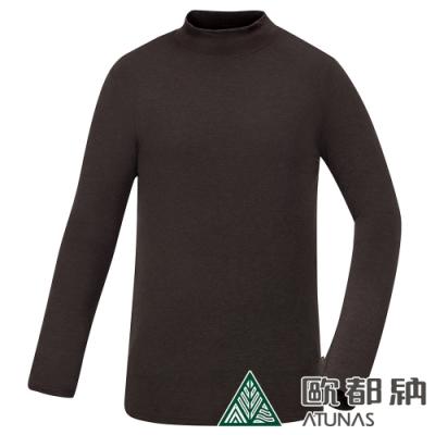 【ATUNAS 歐都納】男熱流立領保暖貼身長袖內著衣/發熱衣A1UCAA02M咖啡