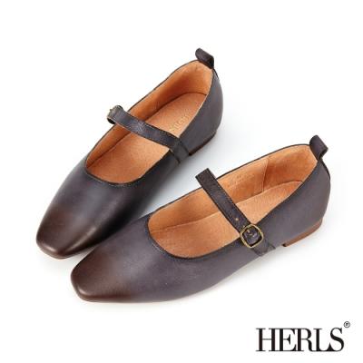 HERLS平底鞋-全真皮擦色瑪莉珍橢圓頭平底鞋-灰藍色