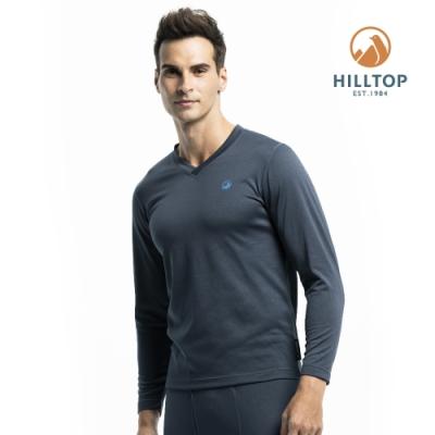 【hilltop山頂鳥】男款TORAY保暖吸濕快乾長袖V領衛生衣H56M80藍灰