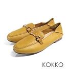 KOKKO -點點真心柔軟後踩金扣莫卡辛鞋-乳酪黃