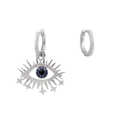 apm MONACO法國精品珠寶 閃耀銀色鑲鋯POP Lucky眼睛不對稱耳環