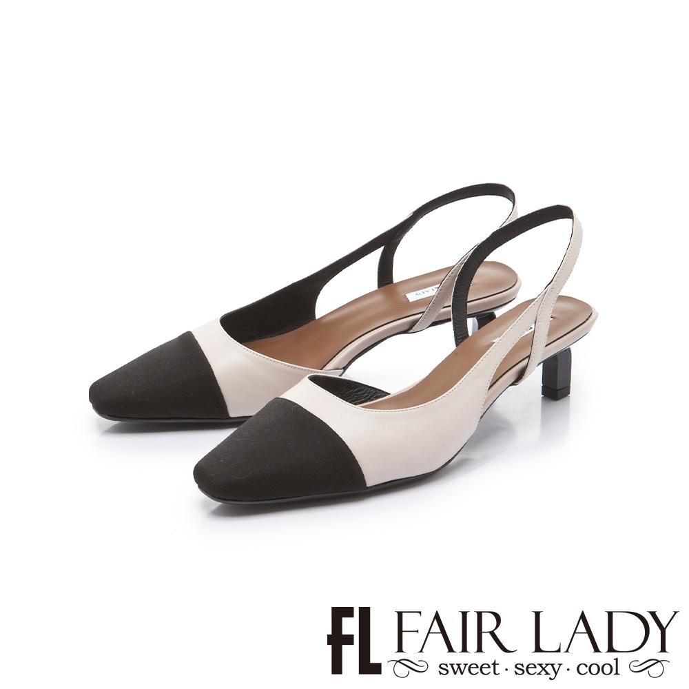 FAIR LADY 優雅小姐雙色拼接後拉帶貓跟涼鞋 卡其