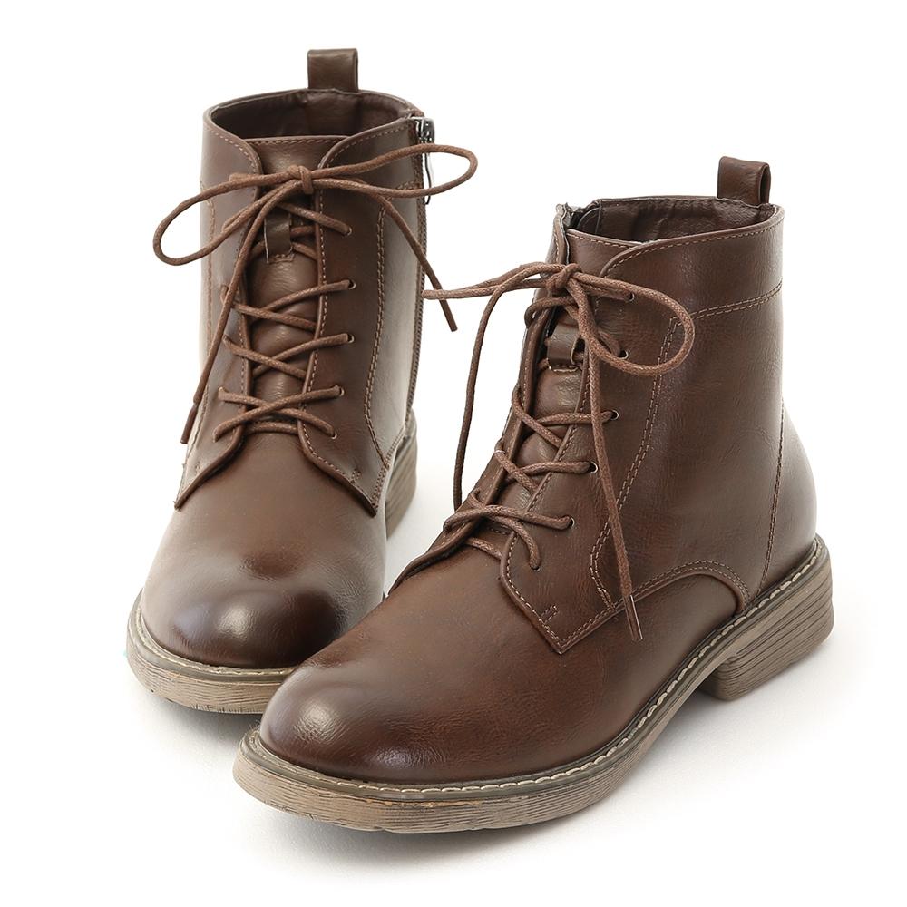 D+AF 都會酷感.仿舊感刷色綁帶短靴*咖