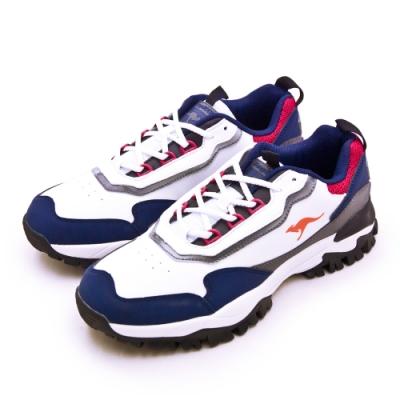 KangaROOS 經典撞色復古越野慢跑鞋 藍標老爹鞋 白藍灰 91176